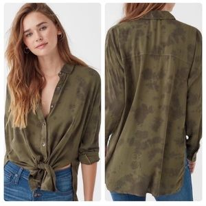 Splendid Army Green Button Up Top